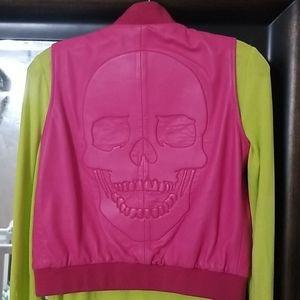 Pink leather Philipp Plein 0 2 petite XS skull